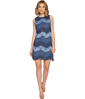London Times - Chambray Stripe Lace Sleeveless Shift Dress