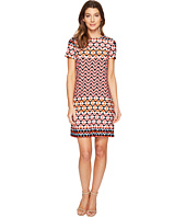 London Times - Chevron Geo Short Sleeve Shift Dress