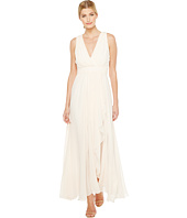 Badgley Mischka - V-Neck Draped Gown with Slit