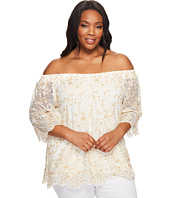 Karen Kane Plus - Plus Size Off the Shoulder Embroidery Top