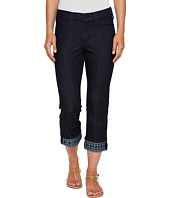 NYDJ - Dayla Wide Cuff Capris w/ Embroidery in Dark Enzyme Wash