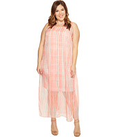 Vince Camuto Specialty Size - Plus Size Sleeveless Graceful Phrases Chiffon Overlay Dress