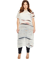 Vince Camuto Specialty Size - Plus Size Short Sleeve Floating Whispers Long Tunic with Slits