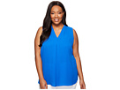 Plus Size Sleeveless V-Neck Blouse with Inverted Front Pleat