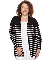 Vince Camuto Specialty Size - Plus Size Long Sleeve Clipper Stripe Panel Cardigan
