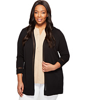 Vince Camuto Specialty Size - Plus Size Long Sleeve Sheer Stripe Cardigan