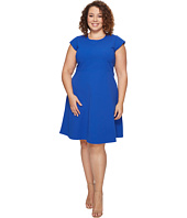 Vince Camuto Specialty Size - Plus Size Cap Sleeve Fit and Flare Seamed Dress