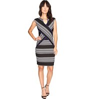 Sangria - Geo Scuba Sheath Dress