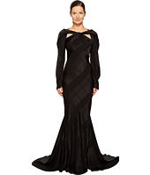Zac Posen - Satin Crepe Jacquard Long Sleeve Cut Out Gown