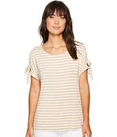 Calvin Klein - Short Sleeve Stripe Tee with Tie Sleeve