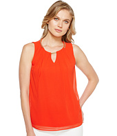 Calvin Klein - Sleeveless Pleat Top with Chain