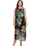 Vince Camuto Specialty Size - Plus Size Sleeveless Havana Tropical Maxi Dress w/ Slits
