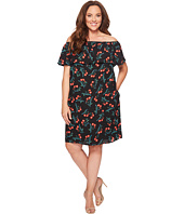 Vince Camuto Specialty Size - Plus Size Ruffle Off Shoulder Tropical Spritz Dress