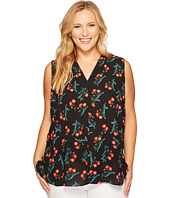 Vince Camuto Specialty Size - Plus Size Sleeveless Tropical Spritz V-Neck Invert Pleat Blouse