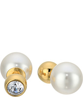 Michael Kors - Pearl Tone Crystal and White Pearl Front-Back Stud Earrings