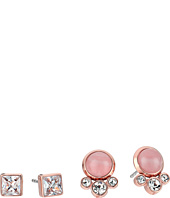 Michael Kors - Tone Crystal and Rose Quartz Stud Earrings Set