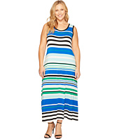 Calvin Klein Plus - Plus Size Sleeveless Striped Maxi