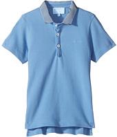 Lanvin Kids - Short Sleeve Polo Shirt w/ Contrast Collar & Logo Detail (Toddler/Little Kids)