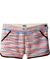 Karl Lagerfeld Kids - Tweed Shorts w/ Fringe & Contrast Black Trim (Little Kids)