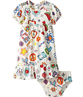 Moschino Kids - All Over Hippy Print Dress & Diaper Cover (Infant/Toddler)