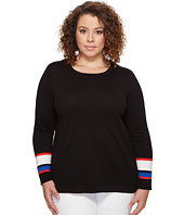Vince Camuto Specialty Size - Plus Size Long Sleeve Striped Cuff Sweater