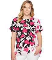 Vince Camuto Specialty Size - Plus Size Extend Shoulder Flower Wave Color Blocked Blouse