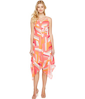 Calvin Klein - Chiffon Dress with Handkerchief Hem