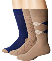 Cole Haan - 3-Pack Argyle/Stripe Crew