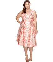 Adrianna Papell - Plus Size Aztec Essence Jacquard Tea Length Fit and Flare