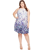 Adrianna Papell - Plus Size Printed Stretch Chiffon Pleated Trapeze Dress