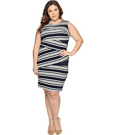 Adrianna Papell - Plus Size Sleeveless Stripe Bodycon Dress