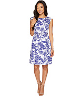 Adrianna Papell - Petite Printed Cotton Faille Belted Fit and Flare