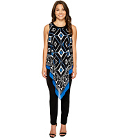 Vince Camuto Specialty Size - Petite Sleeveless Nairobi Graphic Handkerchief Blouse