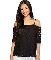 Vince Camuto Specialty Size - Petite Elbow Sleeve Cold-Shoulder Cable Lace Blouse