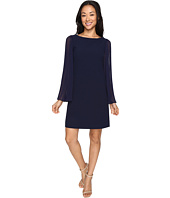 Vince Camuto - Crepe Chiffon Shirt Dress w/ Overlay & Pleated Sleeves
