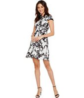 Ivanka Trump - Cap Sleeve Printed Floral Scuba Crepe Fit and Flare