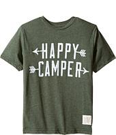 The Original Retro Brand Kids - Happy Camper Short Sleeve Heather Tee (Big Kids)