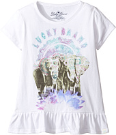 Lucky Brand Kids - Short Sleeve Elephant Tee with Ruffle Hem (Little Kids)
