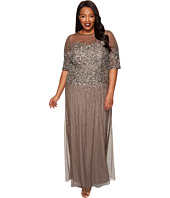 Adrianna Papell - Plus Size Long Beaded Illusion Gown w/ Elbow Sleeve