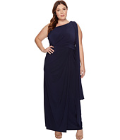Adrianna Papell - Plus Size One Shoulder Jersey Halter Long Gown