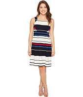 Adrianna Papell - Petite Sleeveless Ottom Stripe Fit & Flare Dress