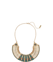 Steve Madden - Blue Bar and Geometric Stone Bead Bib Necklace