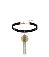 Steve Madden - Textured Disc Green/Red Bead Fringe Suede Choker Necklace