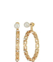 Steve Madden - Pearl/Hoop Front to Back Earrings