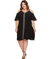 Vince Camuto Specialty Size - Plus Size Short Sleeve Cold-Shoulder Dress w/ Ribbon Trim