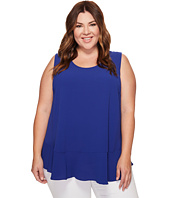 Vince Camuto Specialty Size - Plus Size Sleeveless Ruffle Hem Texture Blouse