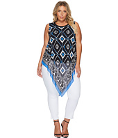 Vince Camuto Specialty Size - Plus Size Sleeveless Nairobi Graphic Handkerchief Blouse