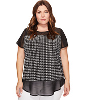 Vince Camuto Specialty Size - Plus Size Short Sleeve Sahara Tracks Chiffon Mix Media Top