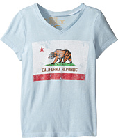 The Original Retro Brand Kids - California Flag Short Sleeve V-Neck Tri-Blend Tee (Big Kids)
