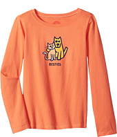 Life is Good Kids - Besties Cat & Dog Long Sleeve Crusher Tee (Little Kids/Big Kids)